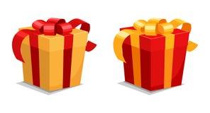 Σύνολο δώρων με τις κόκκινες και κίτρινες κορδέλλες διανυσματική απεικόνιση