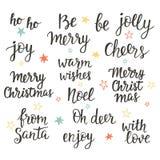 Σύνολο εγγραφής χεριών διακοπών Χριστουγέννων Συλλογή φράσεων καλλιγραφίας διανυσματική απεικόνιση