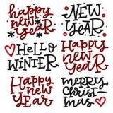 Σύνολο εγγραφής χεριών Χριστουγέννων στα μαύρα και κόκκινα χρώματα Καλή χρονιά, γειά σου χειμώνας, Χαρούμενα Χριστούγεννα Στοκ Εικόνες