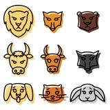Σύνολο εικονιδίων ή λογότυπων με τη διανυσματική απεικόνιση εσωτερικών, άγριων και ζώων αγροκτημάτων στο γραμμικό ύφος διανυσματική απεικόνιση