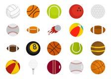 Σύνολο εικονιδίων αθλητικών σφαιρών, επίπεδο ύφος Στοκ φωτογραφία με δικαίωμα ελεύθερης χρήσης