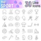 Σύνολο εικονιδίων αθλητικών το λεπτό γραμμών, συλλογή συμβόλων ικανότητας, διανυσματικά σκίτσα, απεικονίσεις λογότυπων, παιχνίδι  διανυσματική απεικόνιση