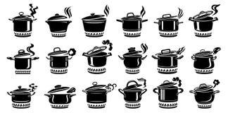 Σύνολο εικονιδίων ατμού κατσαρολλών μαγειρέματος, απλό ύφος στοκ φωτογραφία