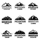 Σύνολο εικονιδίων βουνών που απομονώνονται στο άσπρο υπόβαθρο Στοιχεία σχεδίου για το λογότυπο, ετικέτα, έμβλημα, σημάδι Στοκ Φωτογραφία