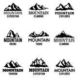 Σύνολο εικονιδίων βουνών που απομονώνονται στο άσπρο υπόβαθρο Στοιχεία σχεδίου για το λογότυπο, ετικέτα, έμβλημα, σημάδι Στοκ φωτογραφία με δικαίωμα ελεύθερης χρήσης