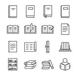 Σύνολο εικονιδίων γραμμών βιβλίων Περιέλαβε τα εικονίδια όπως το βιβλίο, μελέτη, μαθαίνει, εκπαίδευση, έγγραφο, έγγραφο και περισ ελεύθερη απεικόνιση δικαιώματος