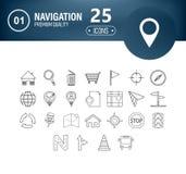 Σύνολο 25 εικονιδίων γραμμών διεπαφών κατάλληλων για τον Ιστό, infographics και apps ελεύθερη απεικόνιση δικαιώματος