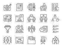 Σύνολο εικονιδίων γραμμών εργασιών Συμπεριλαμβανόμενα εικονίδια ως σταδιοδρομία, που επιδιώκει την εργασία, την απασχόληση, την π απεικόνιση αποθεμάτων