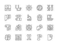 Σύνολο εικονιδίων γραμμών καρκίνου και χημειοθεραπείας Ογκολογία, σάρκωμα, λευχαιμία και περισσότεροι ελεύθερη απεικόνιση δικαιώματος