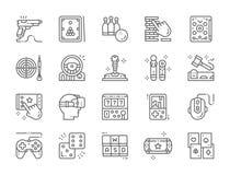 Σύνολο εικονιδίων γραμμών παιχνιδιών Μπιλιάρδο, μπόουλινγκ, Pinball, βέλη, πηδάλιο και περισσότεροι διανυσματική απεικόνιση