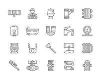 Σύνολο εικονιδίων γραμμών υπηρεσιών υδραυλικών Μπανιέρα, τουαλέτα, λέβητας, υδραυλικός και περισσότεροι διανυσματική απεικόνιση