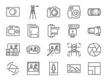 Σύνολο εικονιδίων γραμμών φωτογραφιών και καμερών Συμπεριλαμβανόμενα εικονίδια ως εικόνα, εικόνα, στοά, λεύκωμα, polaroid και περ ελεύθερη απεικόνιση δικαιώματος