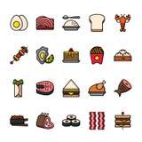 Σύνολο εικονιδίων γραμμών χρώματος τροφίμων Τέλεια εικονίδια εικονοκυττάρου απεικόνιση αποθεμάτων