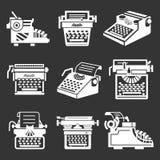 Σύνολο εικονιδίων γραφομηχανών, απλό ύφος διανυσματική απεικόνιση