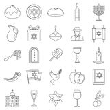 Σύνολο εικονιδίων διακοπών Hanukkah, ύφος περιλήψεων ελεύθερη απεικόνιση δικαιώματος