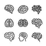 Σύνολο εικονιδίων εγκεφάλου, ύφος περιλήψεων διανυσματική απεικόνιση