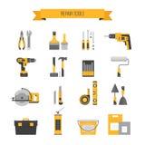Σύνολο εικονιδίων εγχώριας επισκευής Εργαλεία onstruction Ð ¡ Εργαλεία χεριών για το σπίτι ρ Ελεύθερη απεικόνιση δικαιώματος