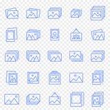 Σύνολο εικονιδίων εκθέσεων φωτογραφίας Πακέτο 25 διανυσματικό εικονιδίων διανυσματική απεικόνιση