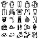 Σύνολο εικονιδίων ενδυμάτων και εξαρτημάτων ατόμων διανυσματική απεικόνιση