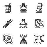 Σύνολο εικονιδίων επιστήμης της βιολογίας, ύφος περιλήψεων ελεύθερη απεικόνιση δικαιώματος