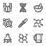 Σύνολο εικονιδίων επιστήμης χημείας, ύφος περιλήψεων ελεύθερη απεικόνιση δικαιώματος