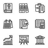 Σύνολο εικονιδίων επιχείρησης, ύφος περιλήψεων διανυσματική απεικόνιση