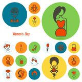 Σύνολο εικονιδίων ημέρας γυναίκας Στοκ φωτογραφία με δικαίωμα ελεύθερης χρήσης