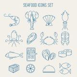 Σύνολο εικονιδίων θαλασσινών διανυσματική απεικόνιση