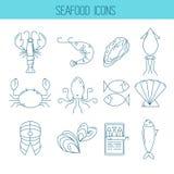 Σύνολο εικονιδίων θαλασσινών ελεύθερη απεικόνιση δικαιώματος