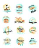 Σύνολο εικονιδίων θερινών λογότυπων νεολαίες ενηλίκων Στοκ εικόνα με δικαίωμα ελεύθερης χρήσης