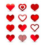 Σύνολο εικονιδίων καρδιών διανυσματική απεικόνιση