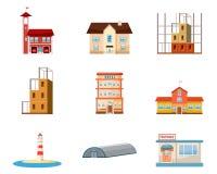Σύνολο εικονιδίων κτηρίων, ύφος κινούμενων σχεδίων διανυσματική απεικόνιση