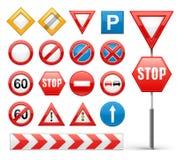 Σύνολο εικονιδίων οδικών σημαδιών απεικόνιση αποθεμάτων