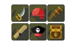 Σύνολο εικονιδίων πειρατών Ξίφος, κόκκινο bandana, τηλεσκόπιο, κύλινδρος, καπέλο καπετάνιου s και στήθος με το θησαυρό Επίπεδα δι απεικόνιση αποθεμάτων