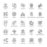 Σύνολο εικονιδίων περιλήψεων δικτύων και επικοινωνίας Στοκ εικόνα με δικαίωμα ελεύθερης χρήσης
