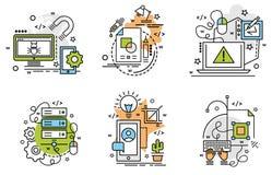 Σύνολο εικονιδίων περιλήψεων της ανάπτυξης Στοκ εικόνες με δικαίωμα ελεύθερης χρήσης