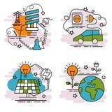 Σύνολο εικονιδίων περιλήψεων της ανανεώσιμης ενέργειας Στοκ Φωτογραφίες