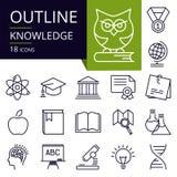 Σύνολο εικονιδίων περιλήψεων της γνώσης Στοκ Εικόνα