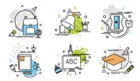 Σύνολο εικονιδίων περιλήψεων της εκπαίδευσης Στοκ Φωτογραφία