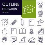 Σύνολο εικονιδίων περιλήψεων της εκπαίδευσης Στοκ εικόνες με δικαίωμα ελεύθερης χρήσης