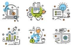 Σύνολο εικονιδίων περιλήψεων της επιχείρησης Στοκ εικόνα με δικαίωμα ελεύθερης χρήσης