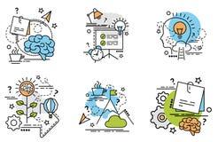 Σύνολο εικονιδίων περιλήψεων της ιδέας Στοκ Εικόνες