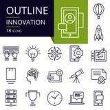 Σύνολο εικονιδίων περιλήψεων της καινοτομίας Στοκ εικόνα με δικαίωμα ελεύθερης χρήσης