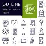 Σύνολο εικονιδίων περιλήψεων της κινητής τεχνολογίας Στοκ εικόνα με δικαίωμα ελεύθερης χρήσης