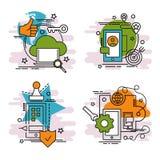 Σύνολο εικονιδίων περιλήψεων της κινητής τεχνολογίας Στοκ Εικόνες
