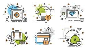 Σύνολο εικονιδίων περιλήψεων της χρηματοδότησης και των χρημάτων Στοκ φωτογραφία με δικαίωμα ελεύθερης χρήσης