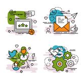 Σύνολο εικονιδίων περιλήψεων του κοινωνικού δικτύου Στοκ Εικόνα