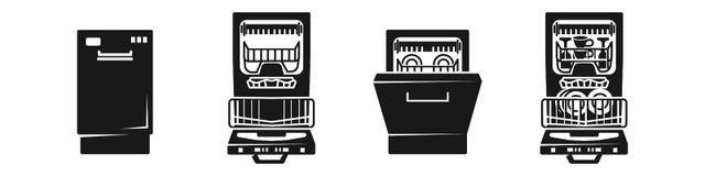 Σύνολο εικονιδίων πλυντηρίων πιάτων, απλό ύφος ελεύθερη απεικόνιση δικαιώματος