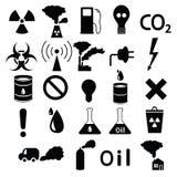 Σύνολο εικονιδίων: ρύπανση, βιομηχανικός, επικίνδυνη διανυσματική απεικόνιση