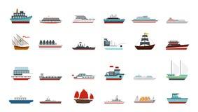 Σύνολο εικονιδίων σκαφών, επίπεδο ύφος ελεύθερη απεικόνιση δικαιώματος